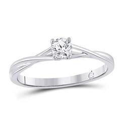 Womens Round Diamond Solitaire Bridal Wedding Engagement Ring 1/4 Cttw 14kt White Gold - REF-38M9H