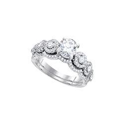 Round Diamond Bridal Wedding Ring Band Set 1-5/8 Cttw 14kt White Gold - REF-489H9R