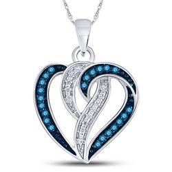 Womens Round Blue Color Enhanced Diamond Heart Pendant 1/6 Cttw 10kt White Gold - REF-10N5F