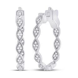 Womens Round Diamond Fashion Hoop Earrings 5/8 Cttw 14kt White Gold - REF-58H9R