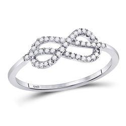 Womens Round Diamond Infinity Fashion Ring 1/6 Cttw 10kt White Gold - REF-12W5K