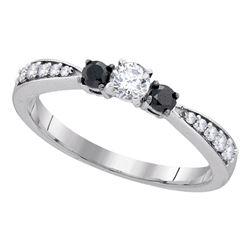 Round Diamond 3-stone Tapered Bridal Wedding Engagement Ring 3/8 Cttw 10kt White Gold - REF-22H5R