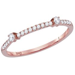 Womens Round Diamond Stackable Band Ring 1/6 Cttw 14kt Rose Gold - REF-16W9K