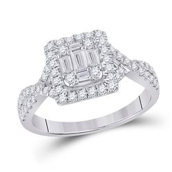 Womens Baguette Diamond Square Ring 5/8 Cttw 14kt White Gold - REF-65X5A