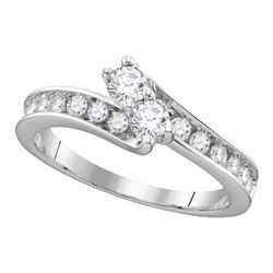 Round Diamond 2-stone Bridal Wedding Engagement Ring 1 Cttw 14kt White Gold - REF-86F5W