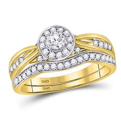 Round Diamond Bridal Wedding Ring Band Set 1/2 Cttw 14kt Yellow Gold - REF-60Y9N