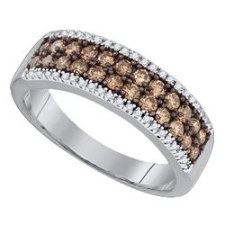 Womens Round Brown Diamond 2-row Band Ring 3/4 Cttw 14kt White Gold - REF-40K9Y