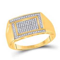 Mens Round Diamond Rectangle Cluster Ring 1/4 Cttw 10kt Yellow Gold - REF-31W9K
