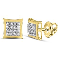 Mens Round Diamond Kite Square Earrings 1/12 Cttw 10kt Yellow Gold - REF-9M9H