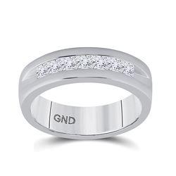 Mens Machine Set Princess Diamond Wedding Channel Band Ring 1 Cttw 14kt White Gold - REF-148W9K