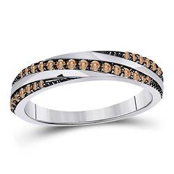 Womens Round Brown Diamond Diagonal Stripe Band Ring 1/4 Cttw 14kt White Gold - REF-21R5X