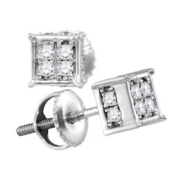 Womens Round Diamond Square Cluster Earrings 1/4 Cttw 10kt White Gold - REF-14X9A