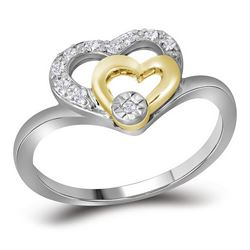 Womens Round Diamond Double Heart Ring 1/12 Cttw 10kt Two-tone White Gold - REF-12F5W