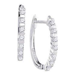 Womens Round Diamond Hoop Earrings 1/4 Cttw 10kt White Gold - REF-16F9W