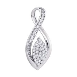 Womens Round Diamond Oval Cluster Fashion Pendant 1/10 Cttw 10kt White Gold - REF-8H9R