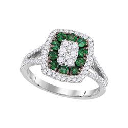 Womens Round Emerald Diamond Cluster Ring 1 Cttw 18kt White Gold - REF-104K9Y