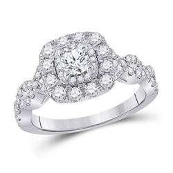 Round Diamond Halo Bridal Wedding Engagement Ring 1 Cttw 14kt White Gold - REF-96W9K