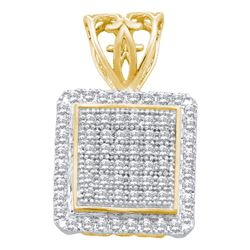Womens Round Diamond Square Cluster Pendant 1/5 Cttw 10kt Yellow Gold - REF-14N9F