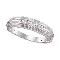 Mens Round Diamond Ridged Edges Wedding Anniversary Band Ring 1/10 Cttw 10kt White Gold - REF-19H9R