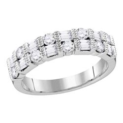 Womens Round Diamond Baguette Alternating Band Ring 3/4 Cttw 10kt White Gold - REF-36N9F