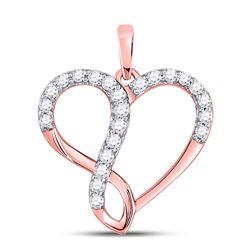 Womens Round Diamond Infinity Heart Pendant 1/3 Cttw 10kt Rose Gold - REF-21Y5N