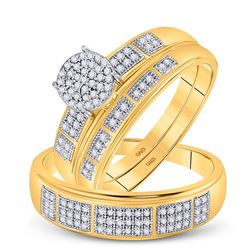His Hers Round Diamond Cluster Matching Wedding Set 1/3 Cttw 10kt Yellow Gold - REF-39H9R