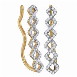 Womens Round Diamond Symmetrical Climber Earrings 1/4 Cttw 10kt Yellow Gold - REF-17X5A