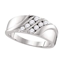 Mens Round Diamond Wedding Band Ring 1/2 Cttw 10kt White Gold - REF-40F9W
