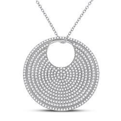 Womens Round Diamond Circle Pendant 2-3/4 Cttw 14kt White Gold - REF-258N9F