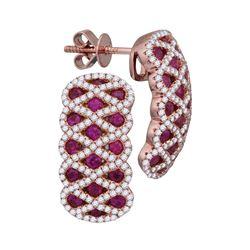 Womens Round Ruby Diamond Crisscross Stud Earrings 2 Cttw 18kt Rose Gold - REF-164R5X