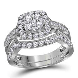 Round Diamond Cluster Bridal Wedding Ring Band Set 1 Cttw 14kt White Gold - REF-71A9M