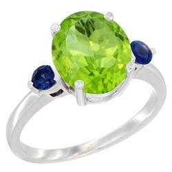 3.02 CTW Peridot & Blue Sapphire Ring 14K White Gold - REF-36A3X