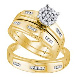 His Hers Round Diamond Cluster Matching Wedding Set 1/3 Cttw 10kt Yellow Gold - REF-35Y5N