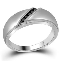 Mens Round Black Color Enhanced Diamond Band Ring 1/8 Cttw 10kt White Gold - REF-19X9A