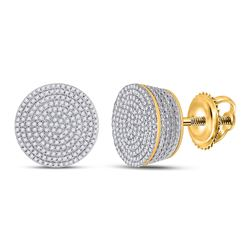 Mens Round Diamond Concentric Cluster Earrings 3/4 Cttw 10kt Yellow Gold - REF-46X5A