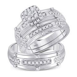His Hers Round Diamond Halo Matching Wedding Set 3/4 Cttw 14kt White Gold - REF-85F9W