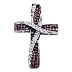 Womens Round Brown Diamond Cross Pendant 1/2 Cttw 10kt White Gold - REF-27K9Y