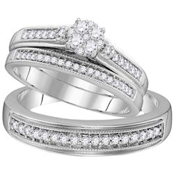 His Hers Round Diamond Cluster Matching Wedding Set 1/2 Cttw 10kt White Gold - REF-41X9A