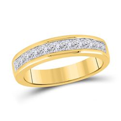 Womens Princess Channel-set Diamond Single Row Wedding Band 1 Cttw 14kt Yellow Gold - REF-89H5R