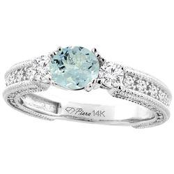1.30 CTW Aquamarine & Diamond Ring 14K White Gold - REF-87A4X