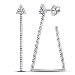 Womens Round Diamond Triangular Hoop Earrings 3/4 Cttw 14kt White Gold - REF-58H9R