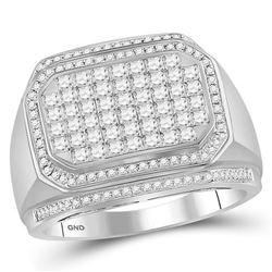 Mens Round Diamond Octagon Cluster Ring 1-3/4 Cttw 14kt White Gold - REF-141K5Y