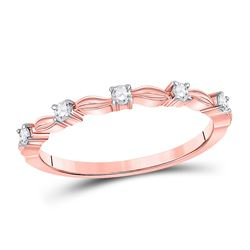 Womens Round Diamond 5-Stone Stackable Band Ring 1/10 Cttw 14kt Rose Gold - REF-13M9H