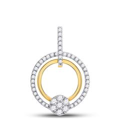 Womens Round Diamond Circle Cluster Pendant 3/8 Cttw 10kt Yellow Gold - REF-25Y9N