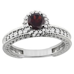 0.95 CTW Garnet & Diamond Ring 14K White Gold - REF-65M9A