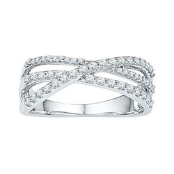 Womens Round Diamond Triple Strand Crossover Band 1/2 Cttw 10kt White Gold - REF-30X5A