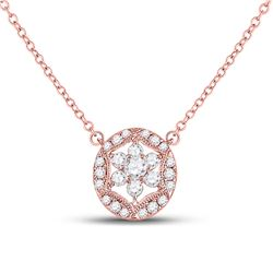 Womens Round Diamond Floral Cluster Necklace 1/3 Cttw 14kt Rose Gold - REF-32N5F