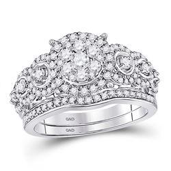Round Diamond Bridal Wedding Ring Band Set 1 Cttw 14kt White Gold - REF-98W5K