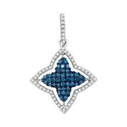 Womens Round Blue Color Enhanced Diamond Star Frame Pendant 1/2 Cttw 10kt White Gold - REF-16F9W