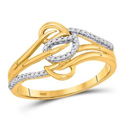Womens Round Diamond Triple Row Leaf Band Ring 1/10 Cttw 10kt Yellow Gold - REF-12Y9N